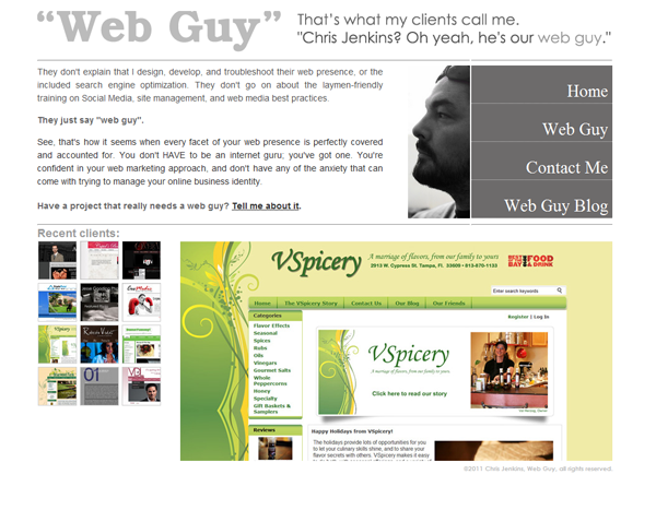 The finished front page for ImTheirWebGuy.com
